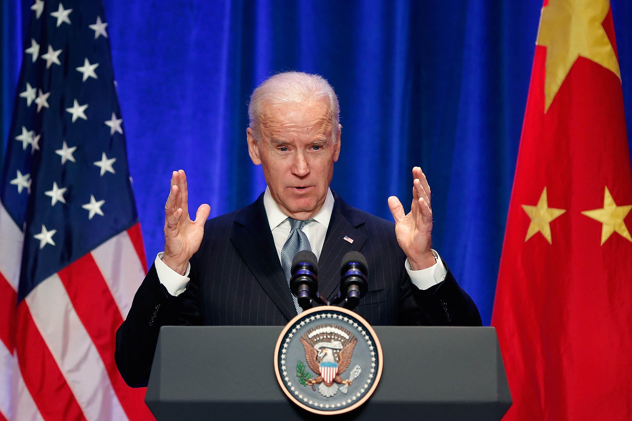 2013年12月5日北京,美國副總統喬·拜登(Joe Biden)在會議上演講。