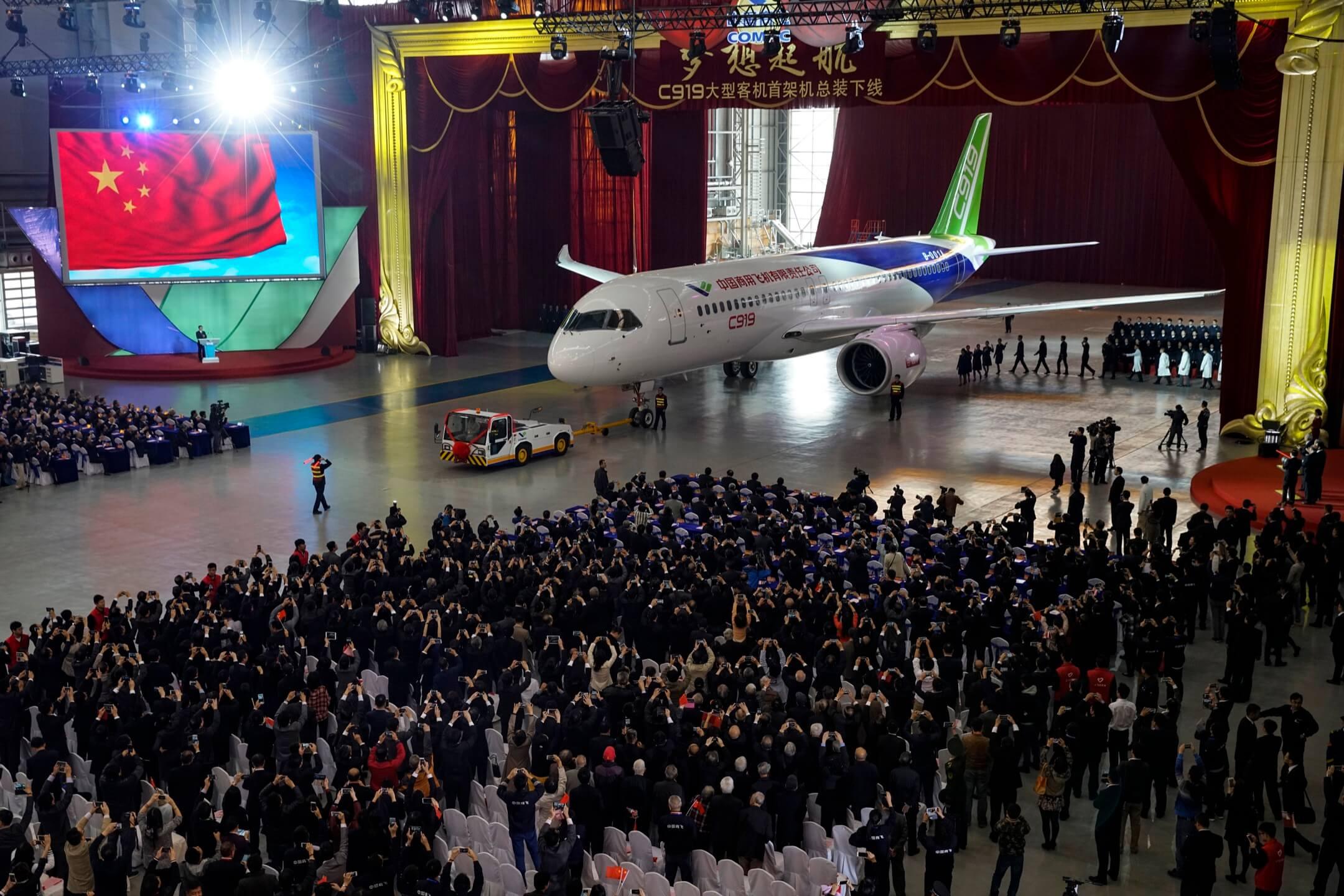 2015年,中國商飛製造的首架幹線大型客機C919。 攝:VCG/Getty Images