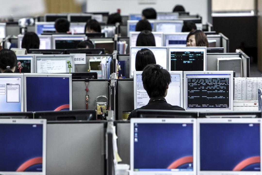 珠海的一個客戶服務中心辦公室。