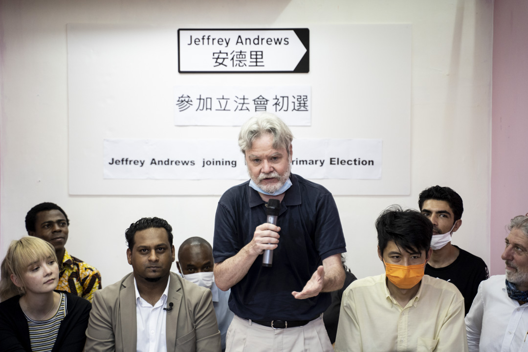 2020年6月26日,印裔社工Jeffrey Andrews宣佈參選立法會,Gordon作為他的支持者,出現在記者會之上。