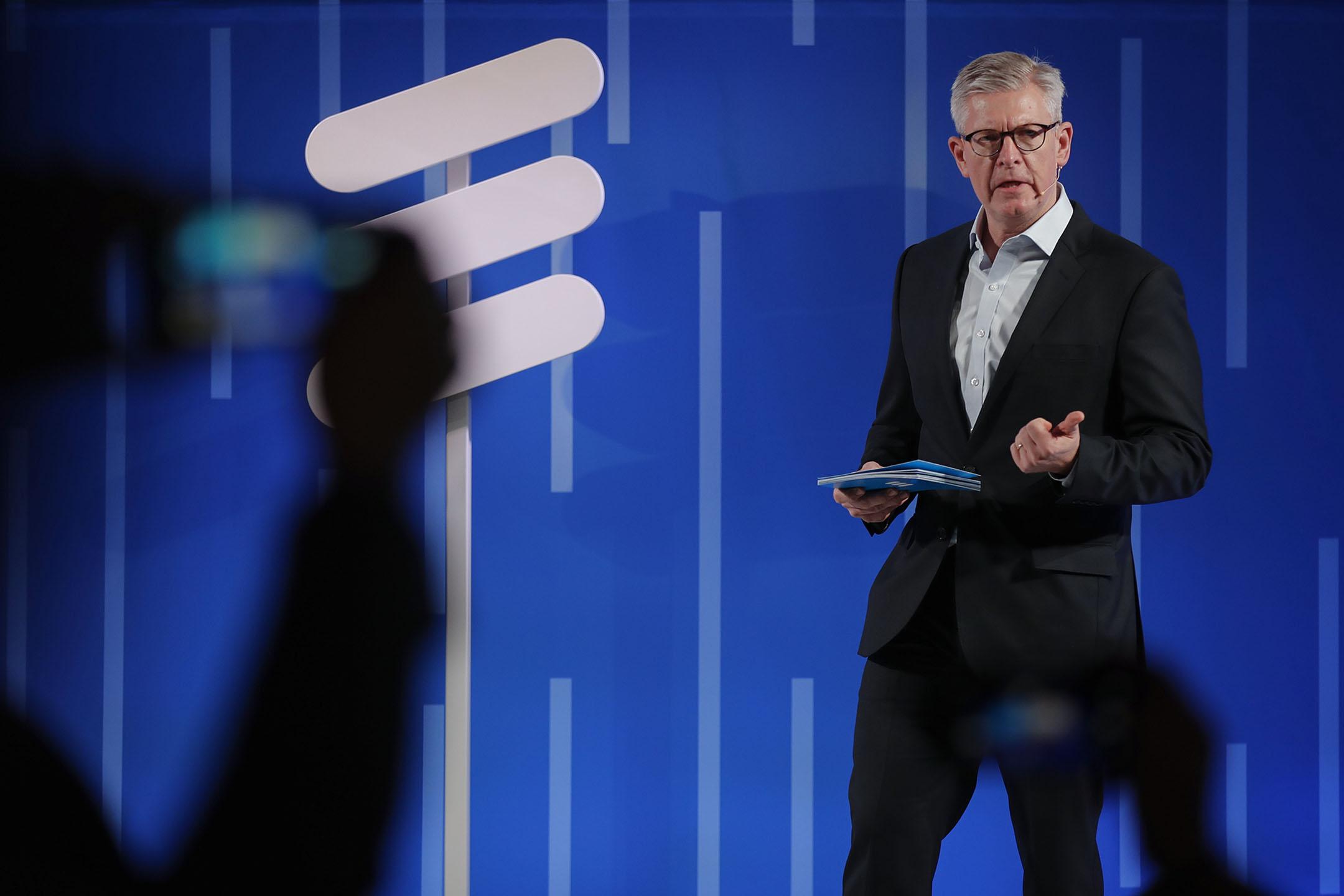 2019年2月25日西班牙巴塞羅那,愛立信首席執行官埃克霍爾姆(Borje Ekholm)在一場演講中。