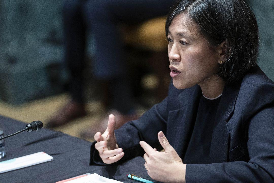 2021年4月28日,美國貿易代表戴琦(Katherine Tai)在聯邦參議院撥款委員會聽證會發言。 攝:Sarah Silbiger/Getty Images