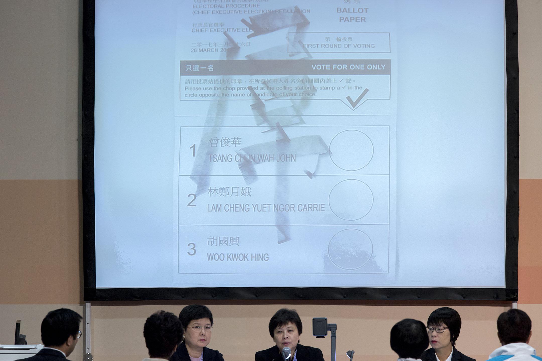 2017年3月26日香港,香港特別行政區行政長官選舉日,有選委在選票上寫上粗口。 攝:林振東/端傳媒