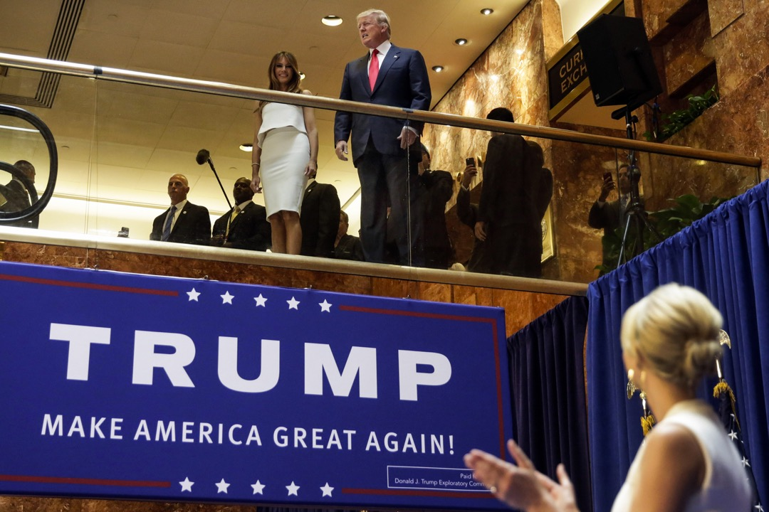 2015年6月16日,美國紐約市,商人特朗普在旗下的特朗普大樓大堂宣布將競逐2016年美國總統選舉的共和黨提名。
