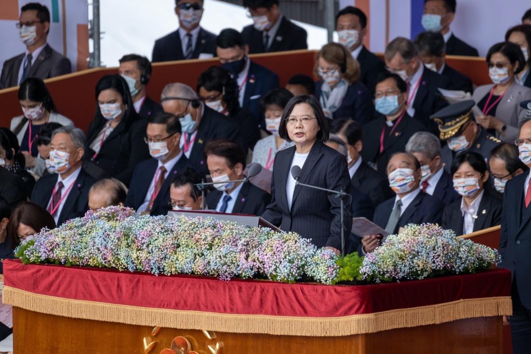 2020年10月10日,台灣總統蔡英文在國慶日典禮上發表演說。