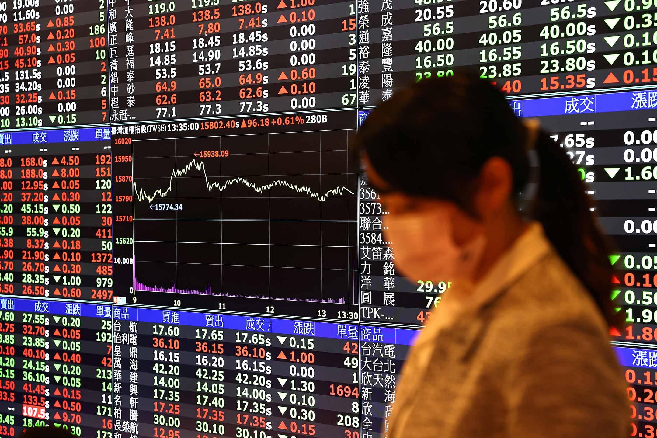 2021年2月8日台灣證券交易所,工作人員戴著口罩。 攝:Ann Wang/Reuters/達志影像