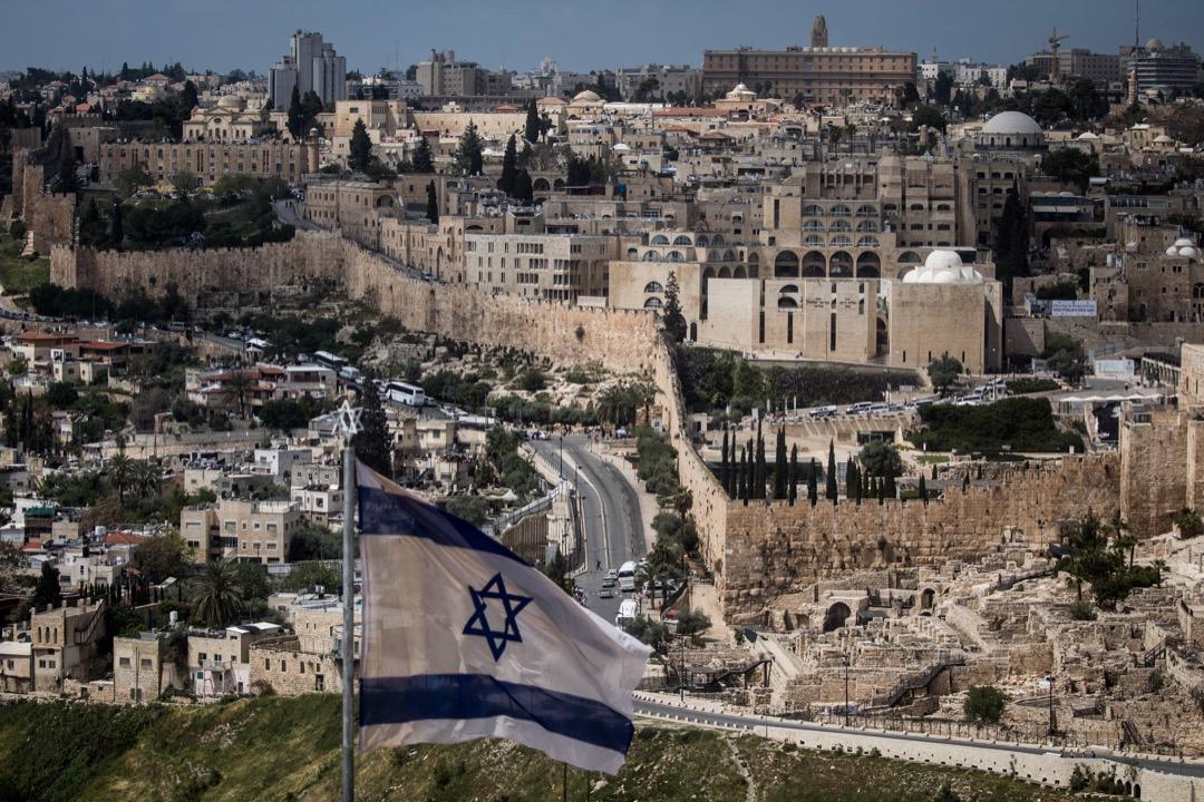 2018年3月,從山上望向耶路撒冷舊城區的城牆。