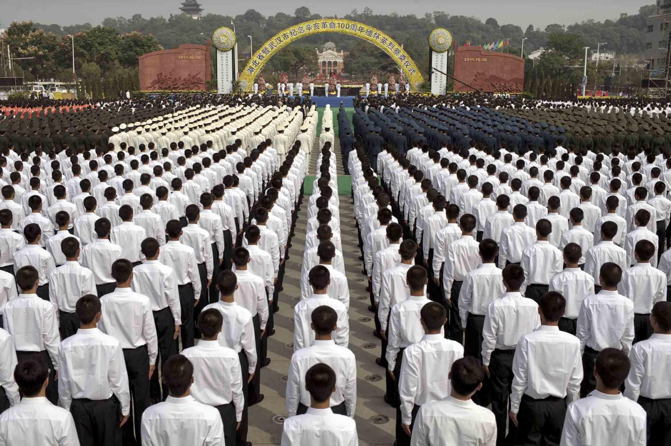 2011年10月10日,武漢市的武昌起義廣場舉行紀念武昌起義100週年的儀式。 攝: China Photos/Getty Images