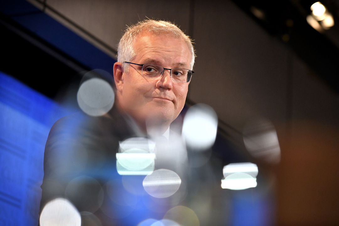 2021年5月6日,中國國家發改委發出公告,宣佈即日起無限期暫停中澳戰略經濟對話機制下的一切活動。圖為2021年2月1日,澳洲總理莫里森(Scott Morrison)出席一場記者會。 攝:Mark Graham / Bloomberg via Getty Images