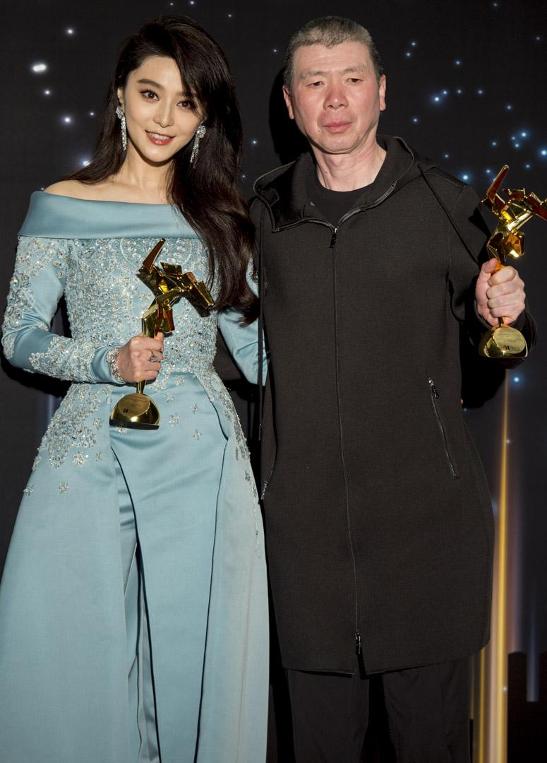 2017年3月21日,范冰冰和馮小剛在香港舉行的第11屆亞洲電影大獎頒獎典禮上。