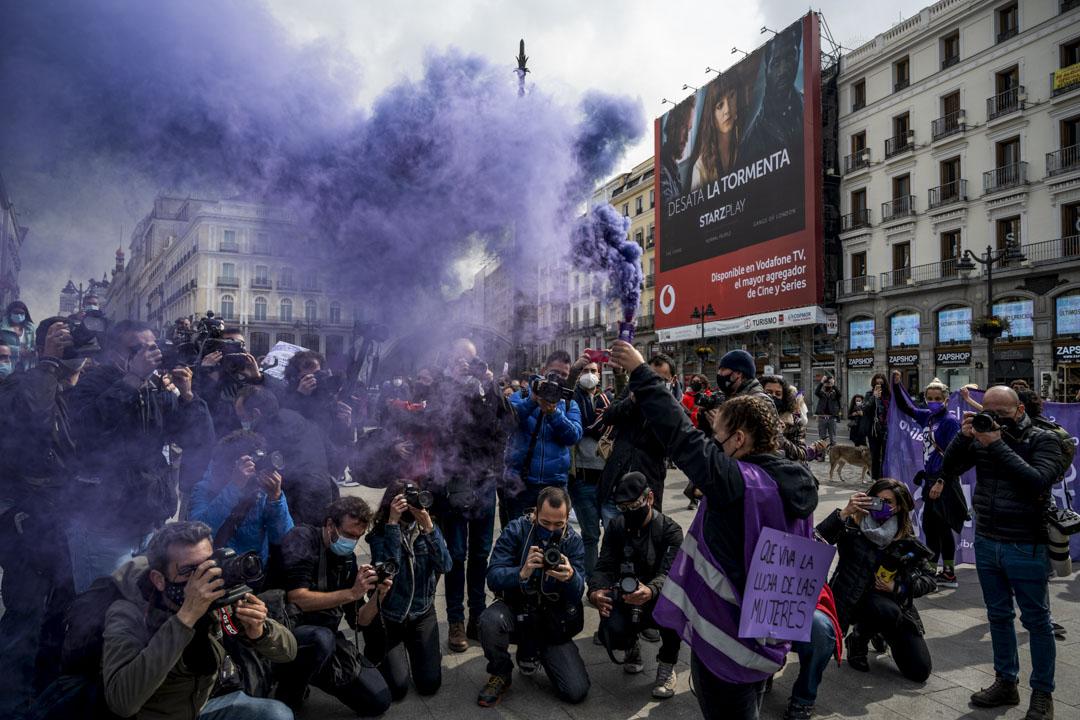 2021年3月8日,西班牙馬德里有女權份子在婦女節期間示威。