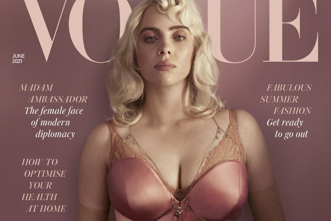 Billie Eilish在個人IG上貼出自己為英國版《VOGUE》拍攝的封面。 圖片來源:@billieeilish IG