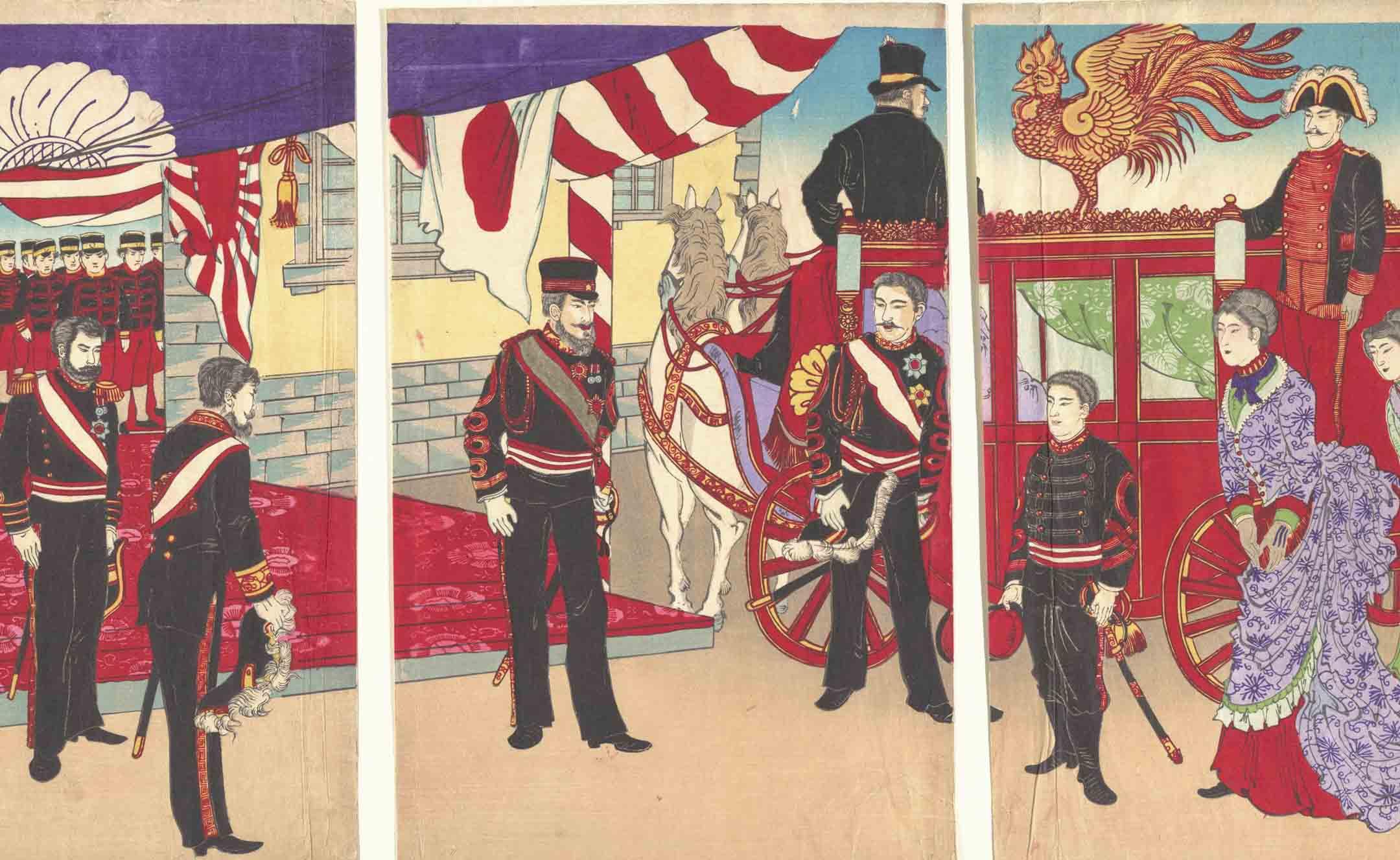 1905年,日本,明治天皇在日俄戰爭勝利後抵達東京。 攝:Sepia Times/Universal Images Group via Getty Images