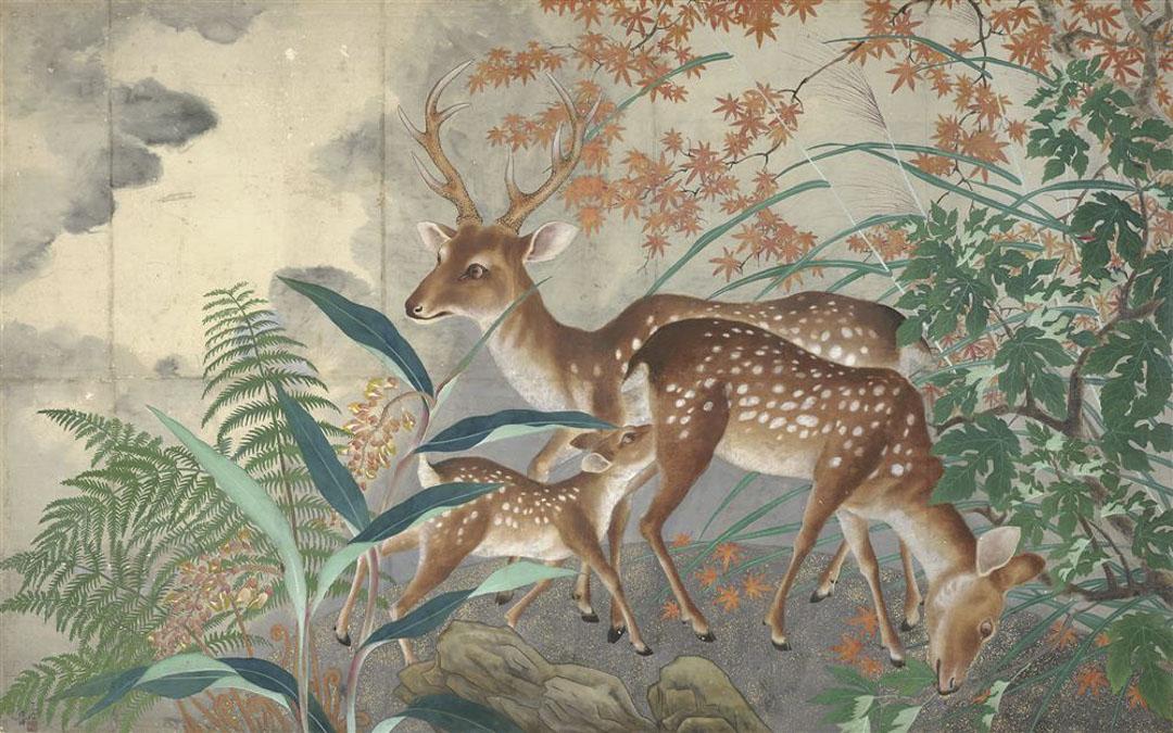 呂鐵州的作品《鹿圖》。