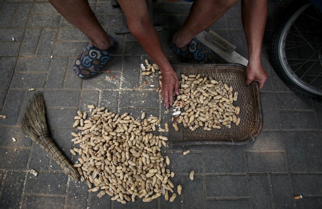 北京一名男子在地面上對花生進行篩選。