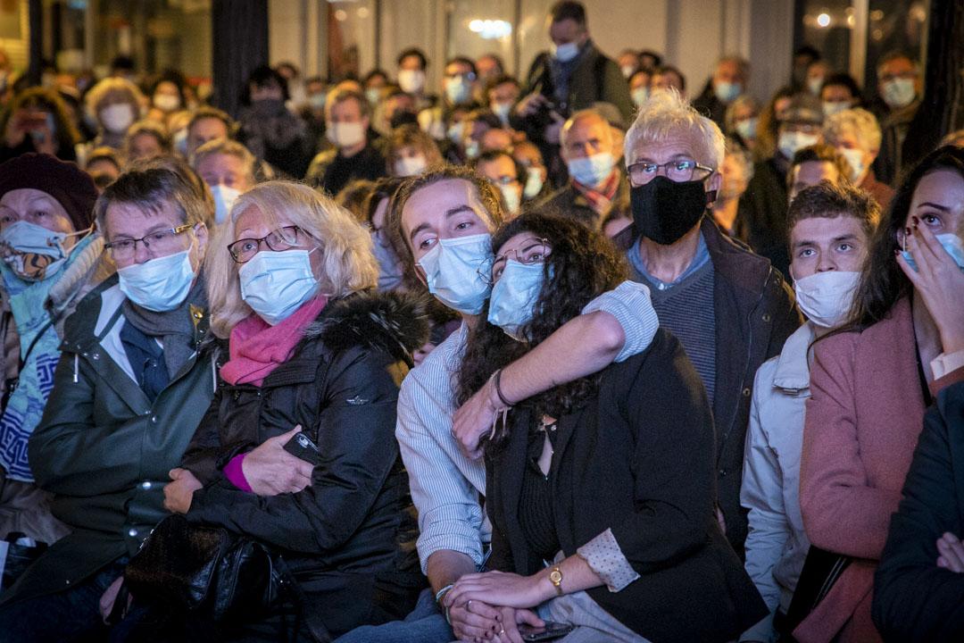 2020年10月21日,巴黎,一個悼念被極端伊斯蘭分子斬首的教師帕蒂的集會。