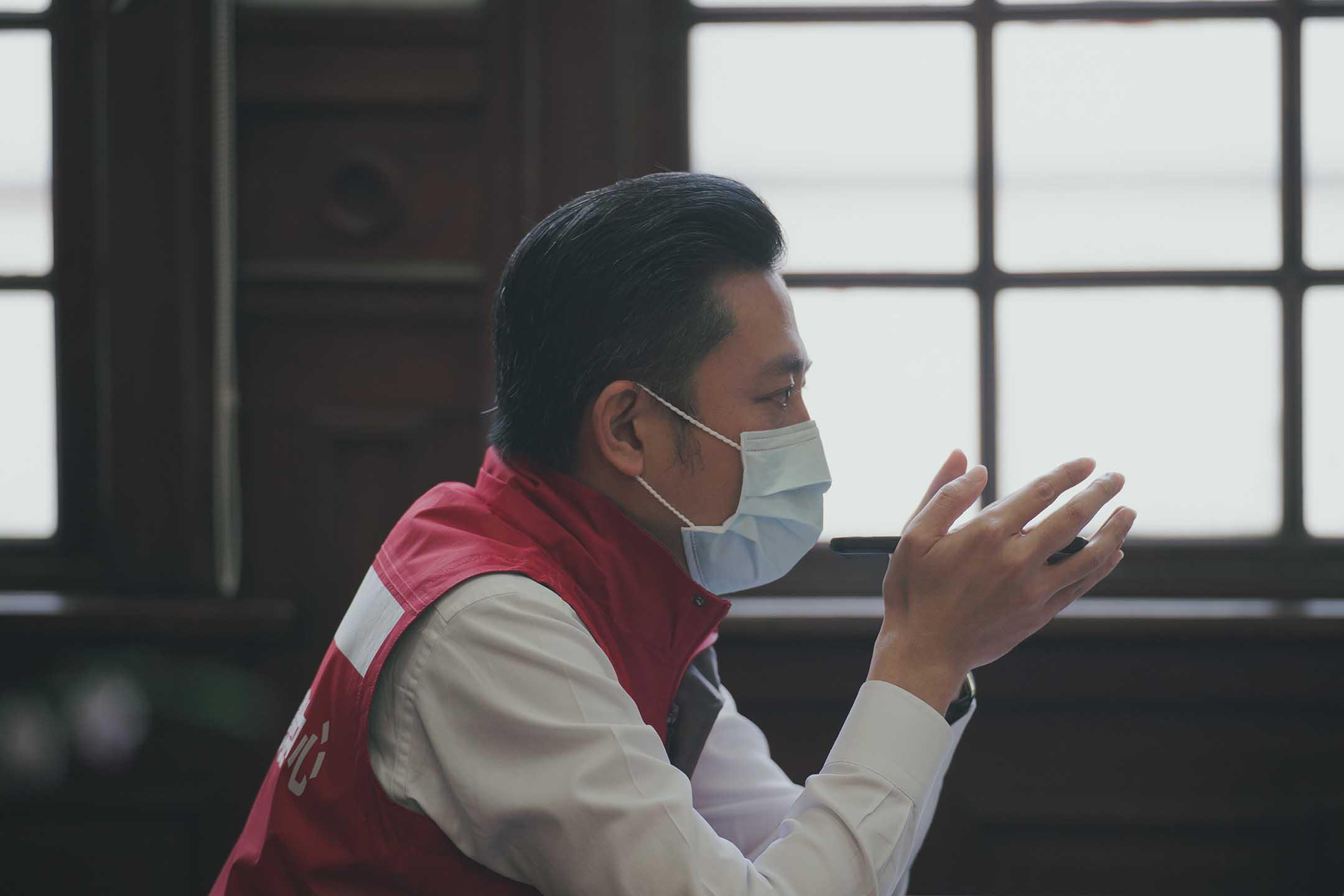 2021年6月5日,林智堅在進行幕僚會議。