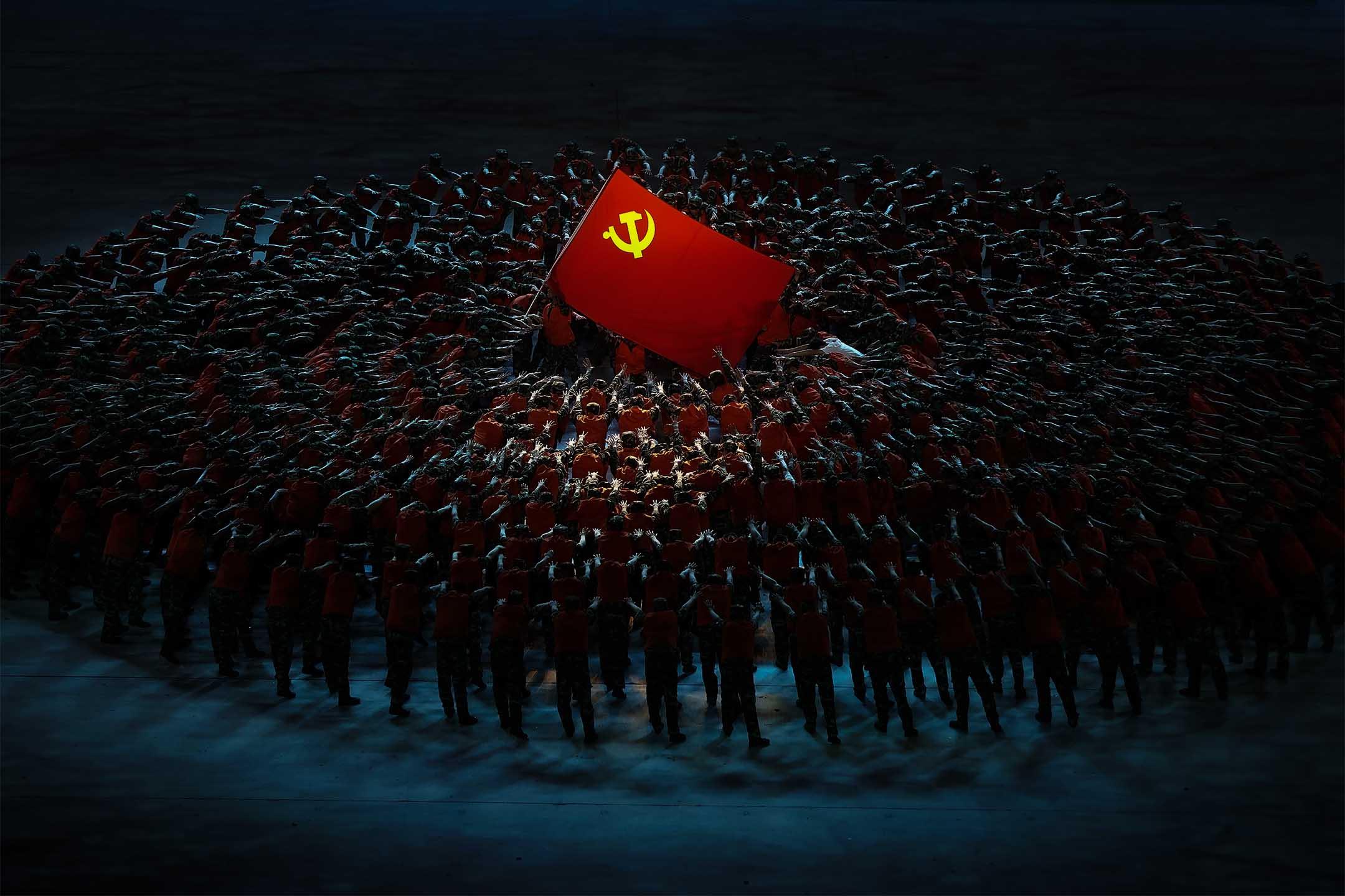 2021年6月28日中國北京,國家體育場內表演慶祝中國共產黨成立 100 週年。 攝:Lintao Zhang/Getty Images