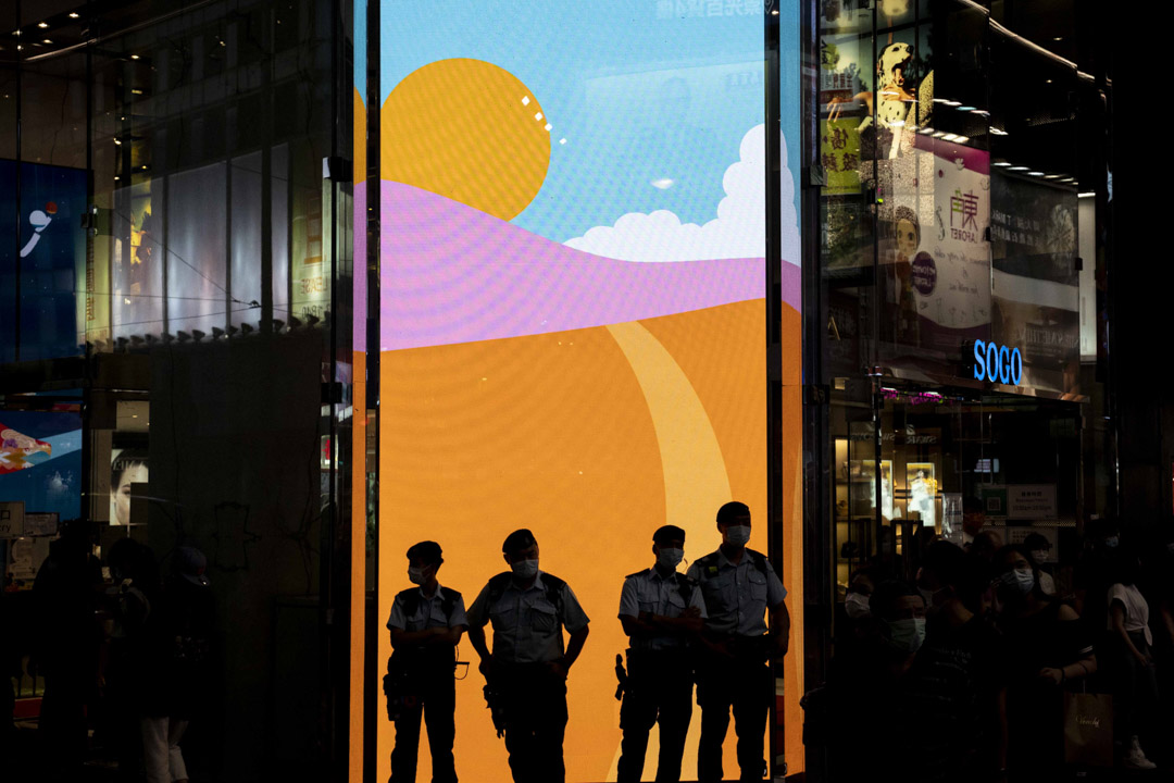2021年6月12日,香港警方在銅鑼灣高度戒備。