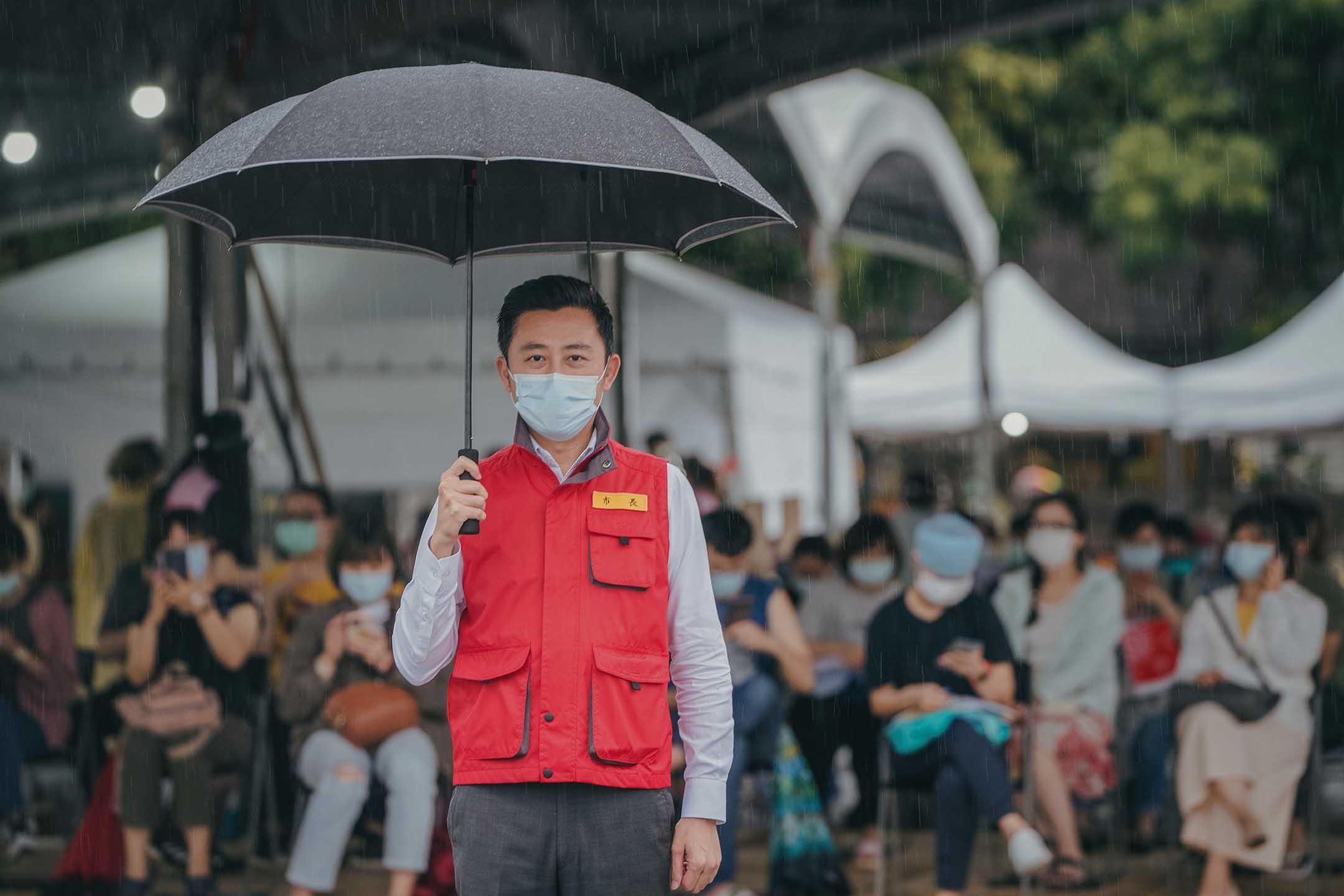 2021年6月3日,新竹市長林智堅視察國軍竹科篩檢站。 圖:受訪者提供