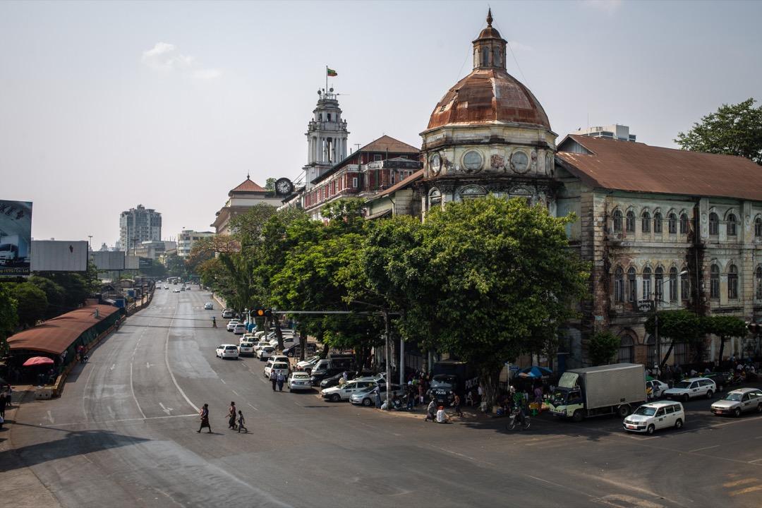 2021年3月24日,人民響應號召參加全國性罷工,緬甸仰光街頭一片寧靜。