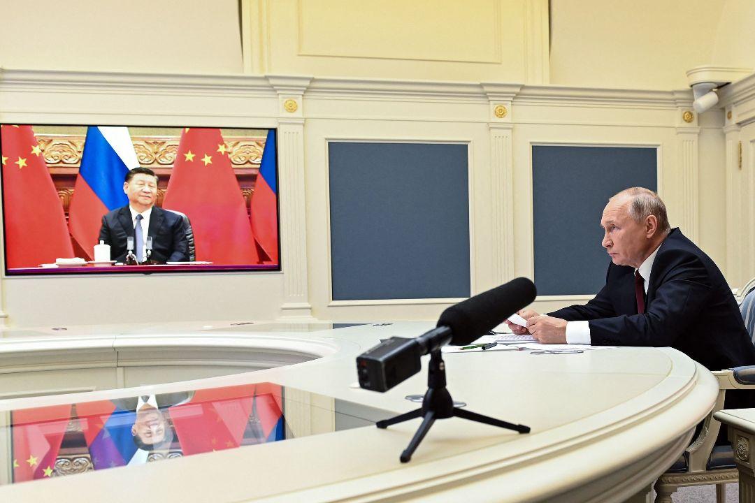 2021年6月28日,中國國家主席習近平與俄羅斯總統普京線上會晤。 攝:Alexey Nikolsky/Getty Images