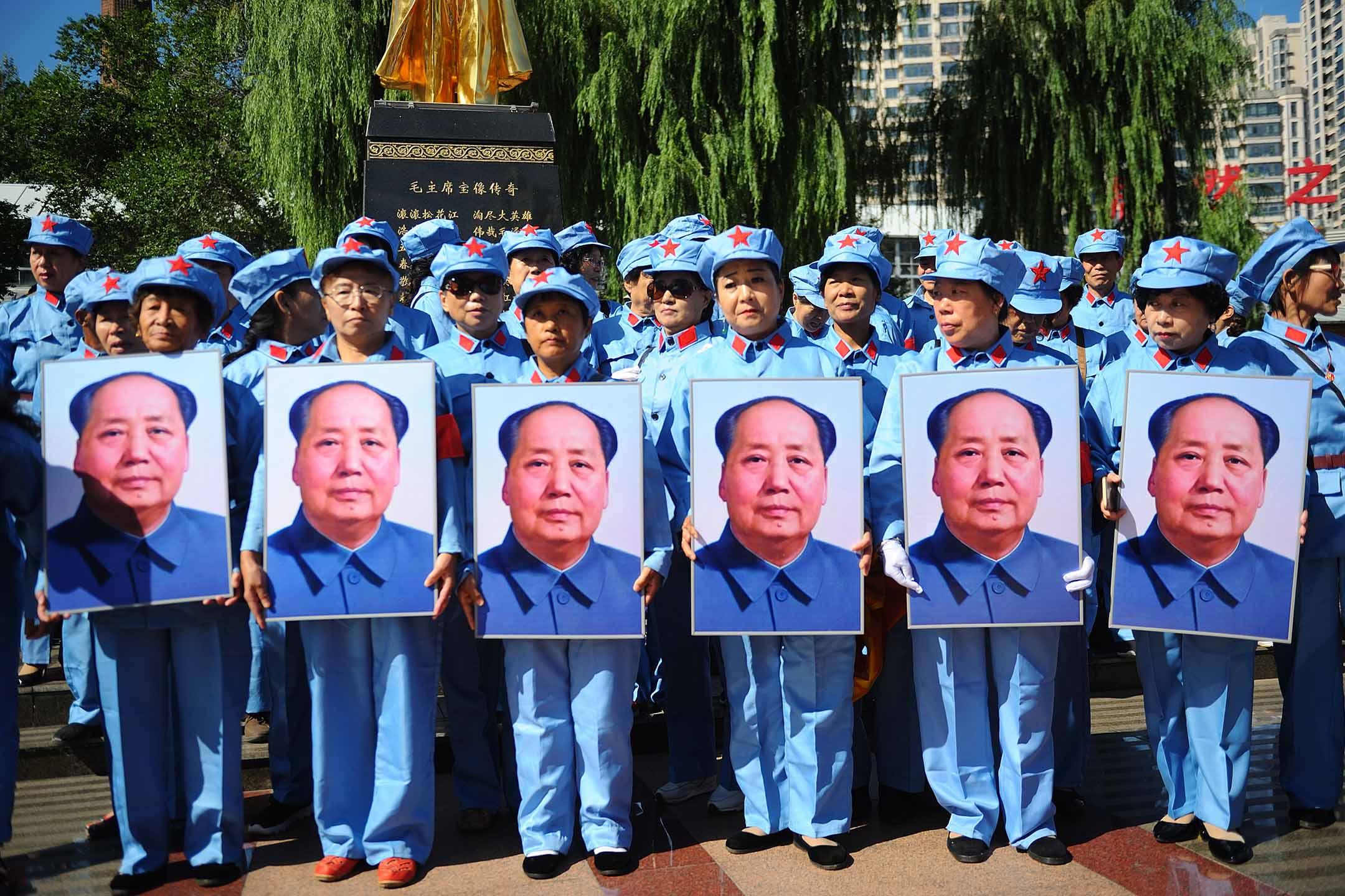 2019年9月9日中國哈爾濱,人們紀念前領導人毛澤東逝世 43 週年。