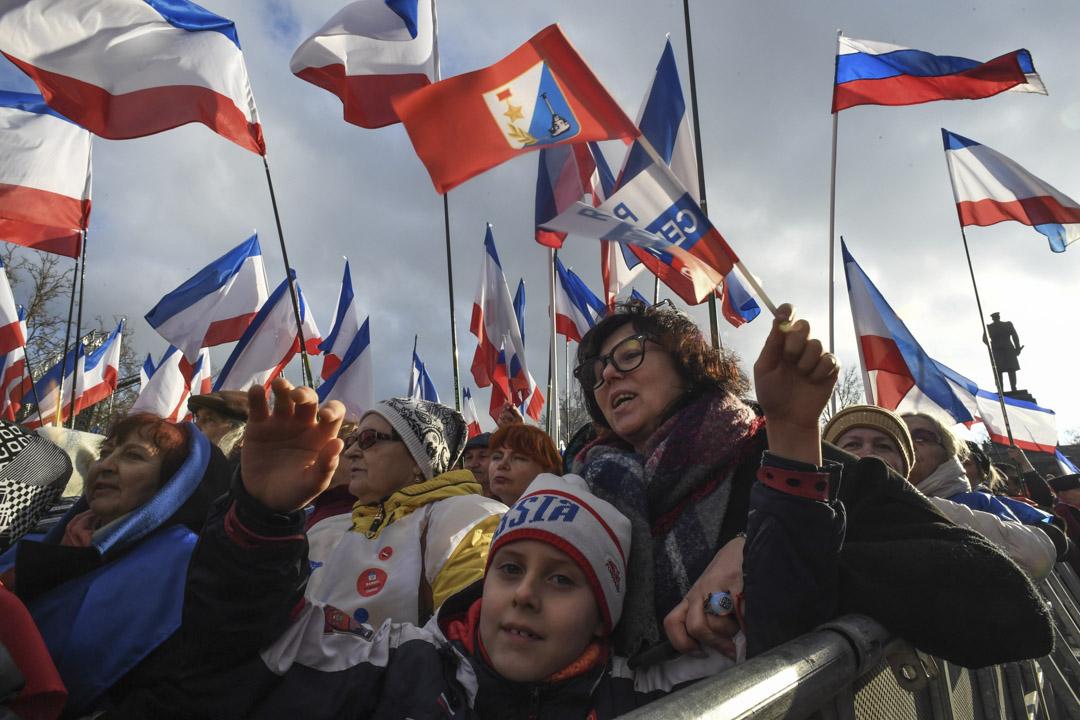 2018年3月14日,俄羅斯總統普京的支持者於在塞瓦斯托波爾舉行集會慶祝俄羅斯吞併克里米亞四周年。