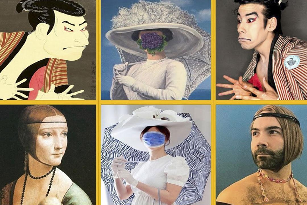 「Getty Museum Challenge」是向長期在家隔離的公眾招手,邀請他們搞笑cosplay名畫,以手邊日常物品模擬名畫中人物的打扮和場景。  圖:Getty Museum Challenge