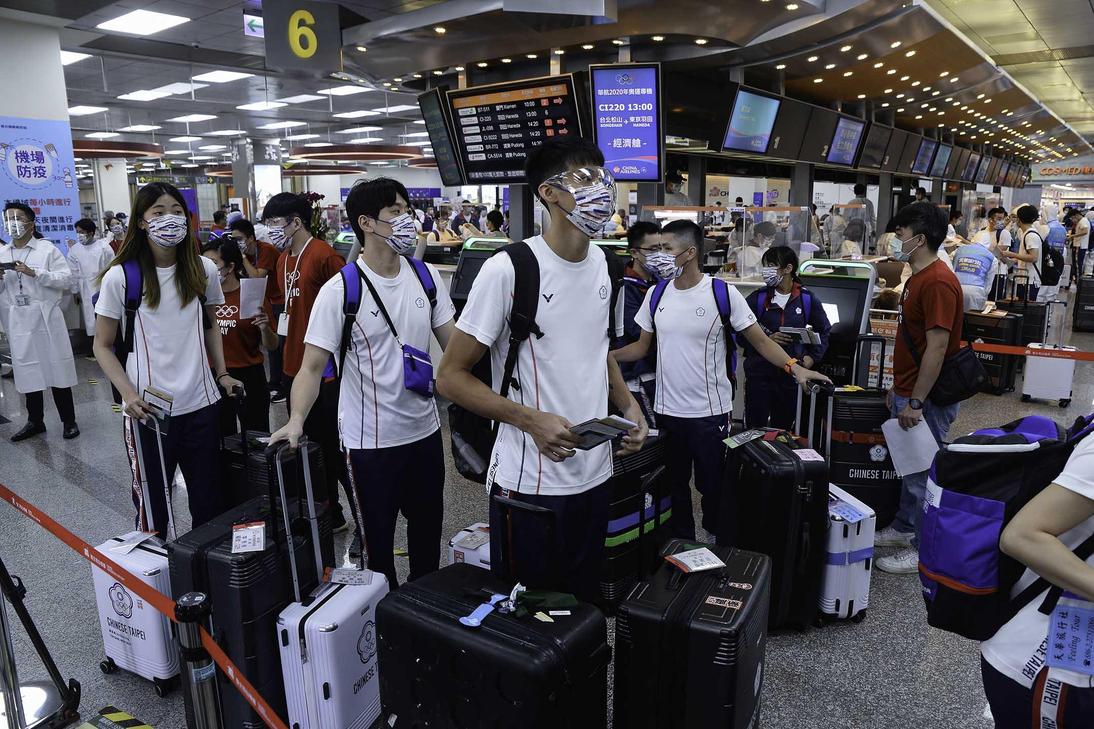 2021年7月19日台灣台北,台灣運動員前往東京參加奧運會。