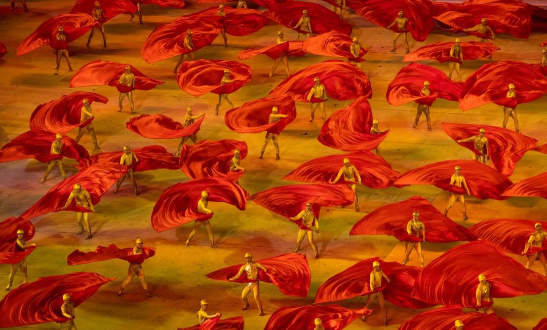 2021年6月28日,中國,表演者在國家體育場為中共建黨100週年演出。