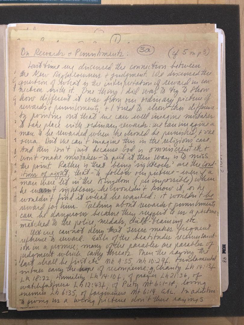 羅爾斯的手稿。