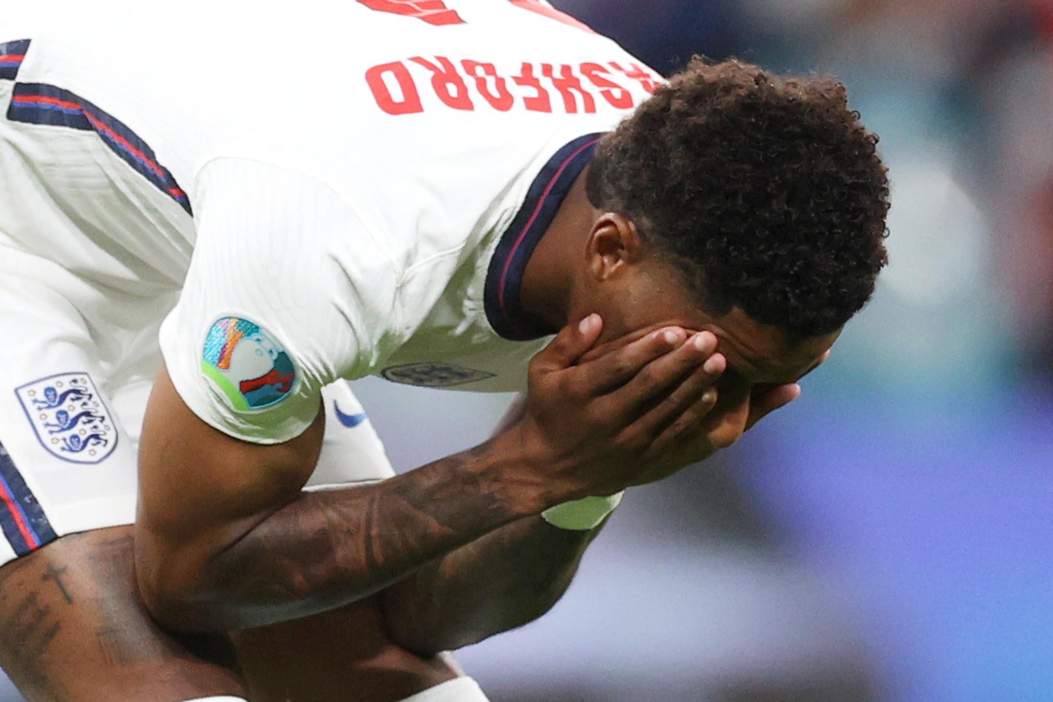 2021年7月11日英國倫敦溫布利球場,歐洲盃決賽意大利對陣英格蘭,英格蘭的馬庫斯·拉什福德(Marcus Rashford)射失12碼。 攝:Carl Recine/Pool via Reuters/達志影像