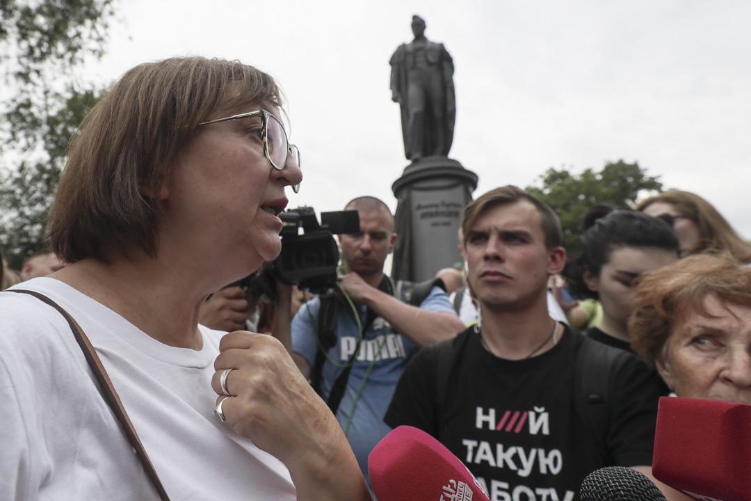 2019年6月12日,Meduza 的首席執行官Galina Timchenko在俄羅斯莫斯科舉行的支持Ivan Golunov的集會上與媒體交談,後者被警方拘留、被指控犯有毒品罪,後來被軟禁釋放。