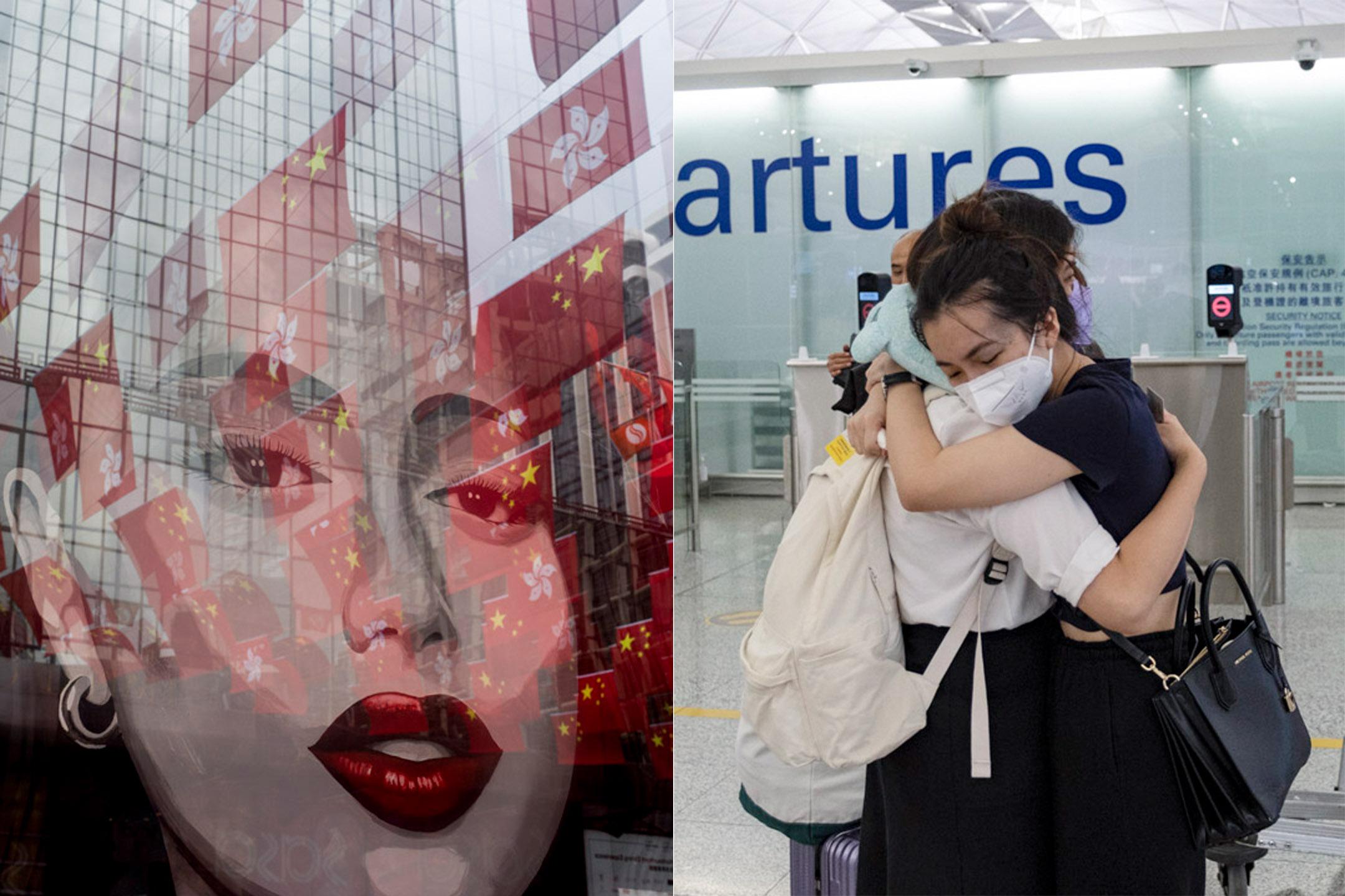 左:2021年6月29日,尖東一個商場外掛滿香港特區區旗及中國國旗。 右:2021年6月30日香港國際機場,市民在離境大堂相擁道別,準備登上前往英國的航機。 攝:林振東、陳焯煇/端傳媒
