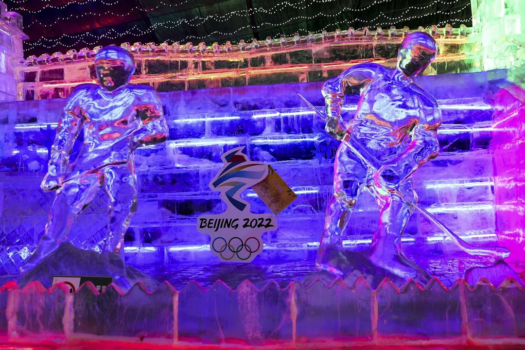 2022年2月26日,北京的延慶冰雪節場地上可以看到 2022 年北京冬奧會的標誌。