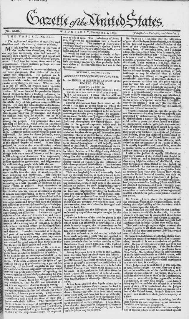 1789年9月9日號的《美國公報》。