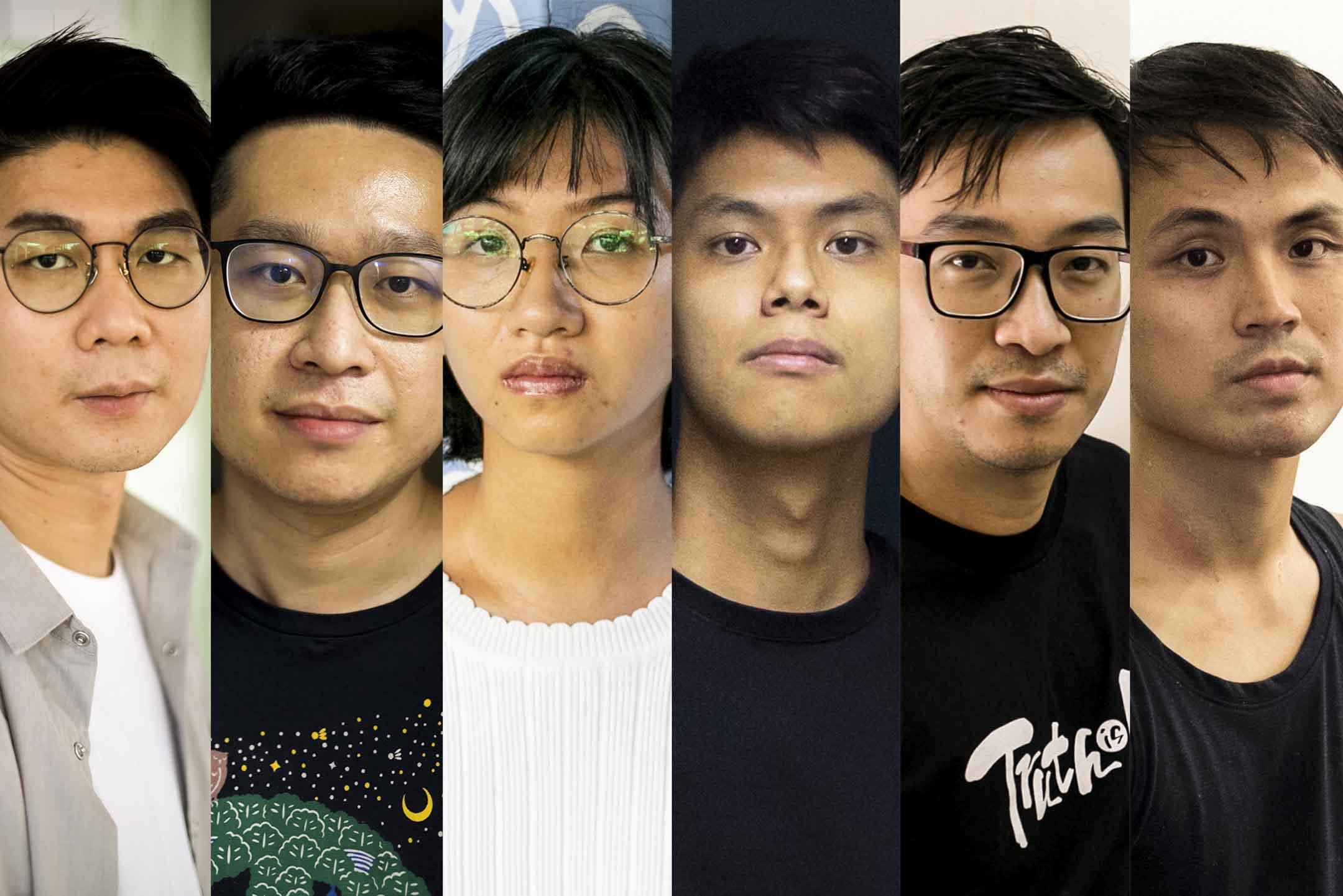 六位已辭職的區議員:麥梓健、林兆彬、陳嘉琳、方浩軒、楊彧、梁德明。
