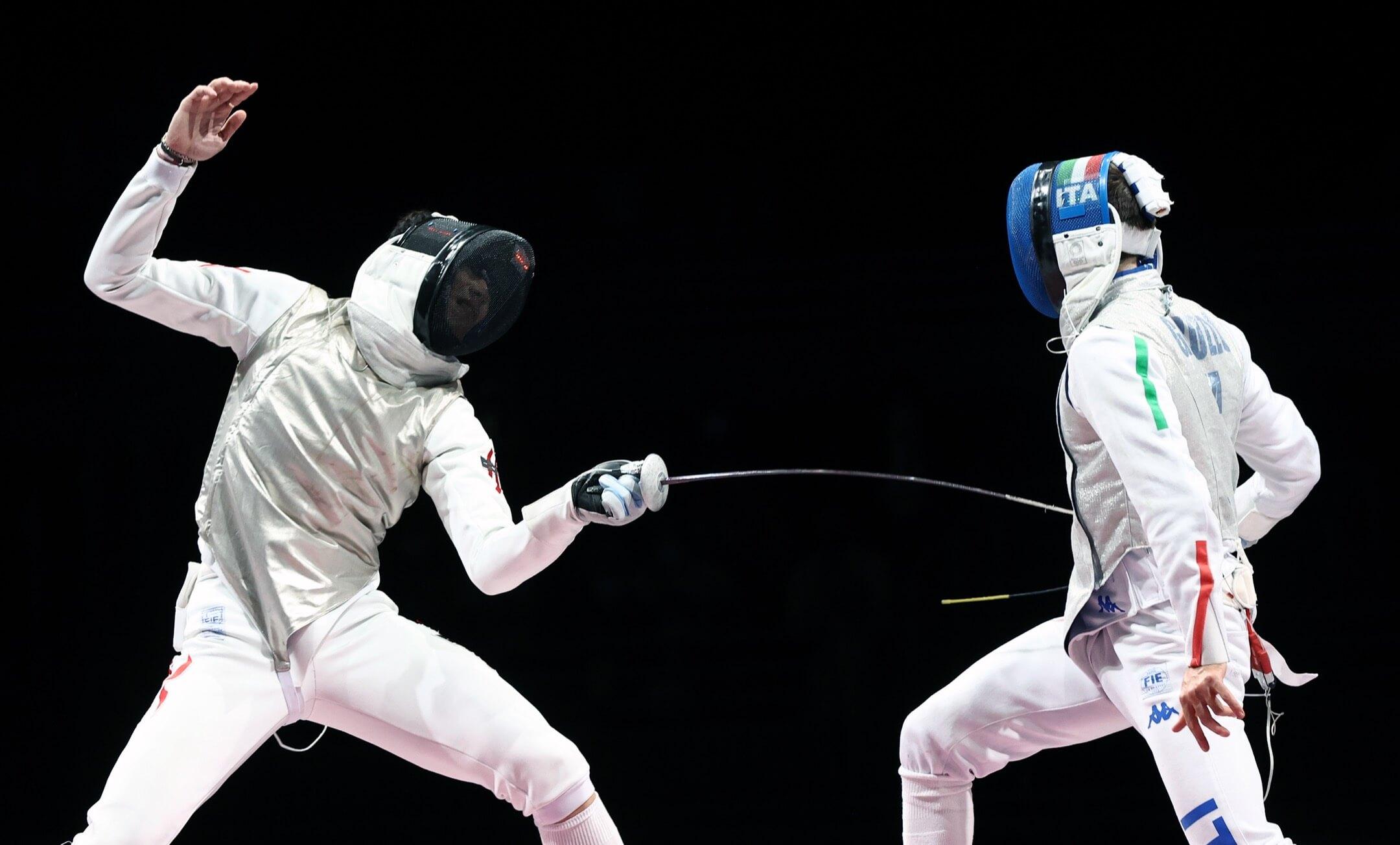 2021年7月26日,東京奧運,男子花劍項目決賽,香港代表張家朗對爭取衛冕的意大利代表Daniele Garozzo。