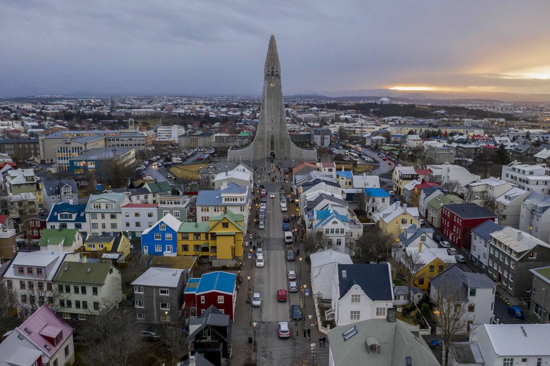2018年12月18日,首都雷克雅未克(Reykjavik)的城市景觀。 攝:Patrick Gorski/NurPhoto via Getty Images