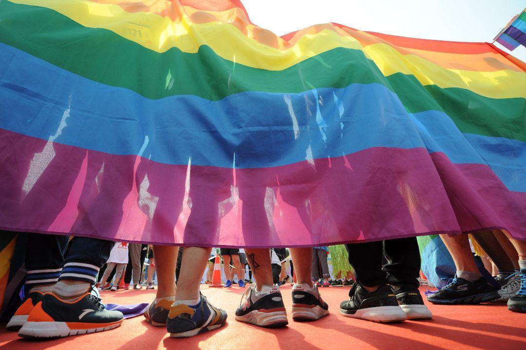 2017年5月21日,中國山西省太原市,約300人參加彩虹跑活動,包括約20名LGBT+人士。 攝:Getty Images