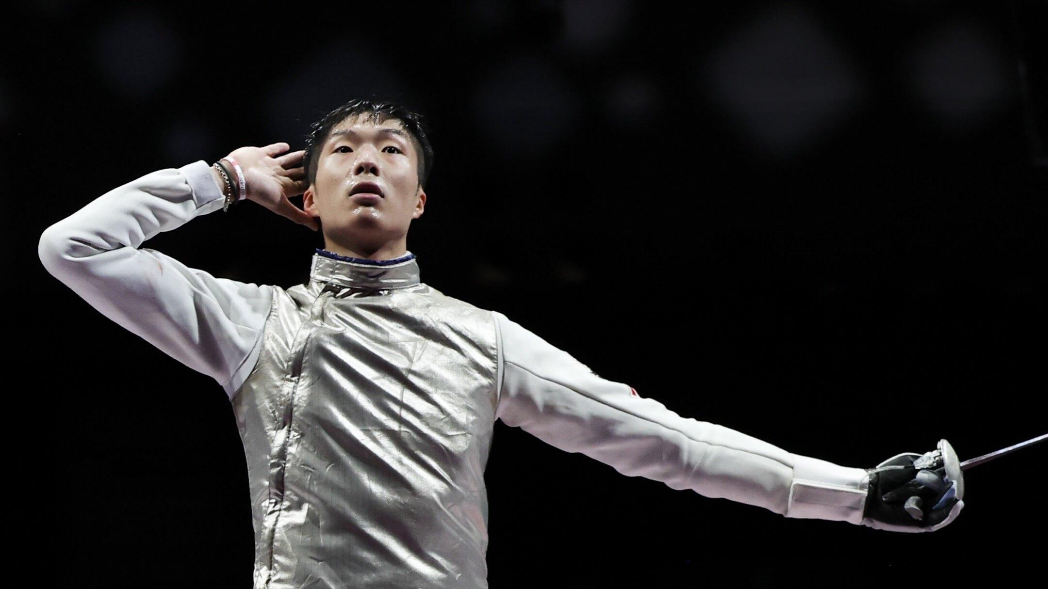 2021年7月26日,東京奧運,香港花劍代表張家朗在16強賽事中取勝後慶祝。