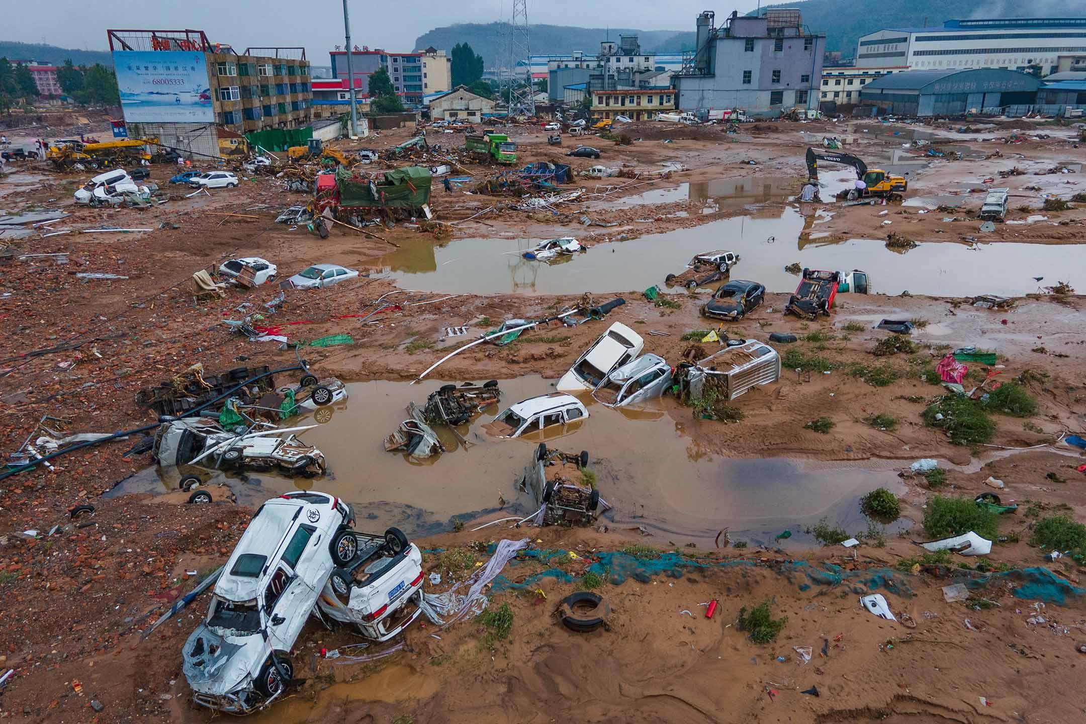 2021年7月21日中國河南省鞏義市被洪水淹沒。