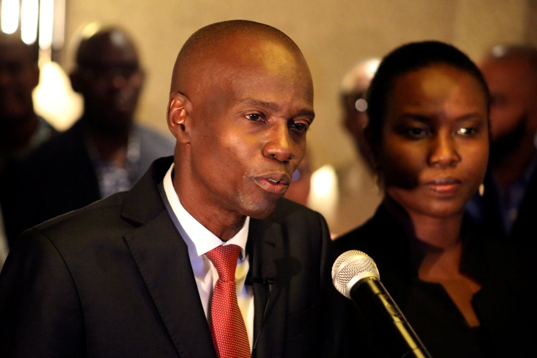 2016年11月28日,海地太子港,莫伊茲(Jovenel Moïse)贏得總統選舉後講話。 攝:Jeanty Junior Augustin/Reuters
