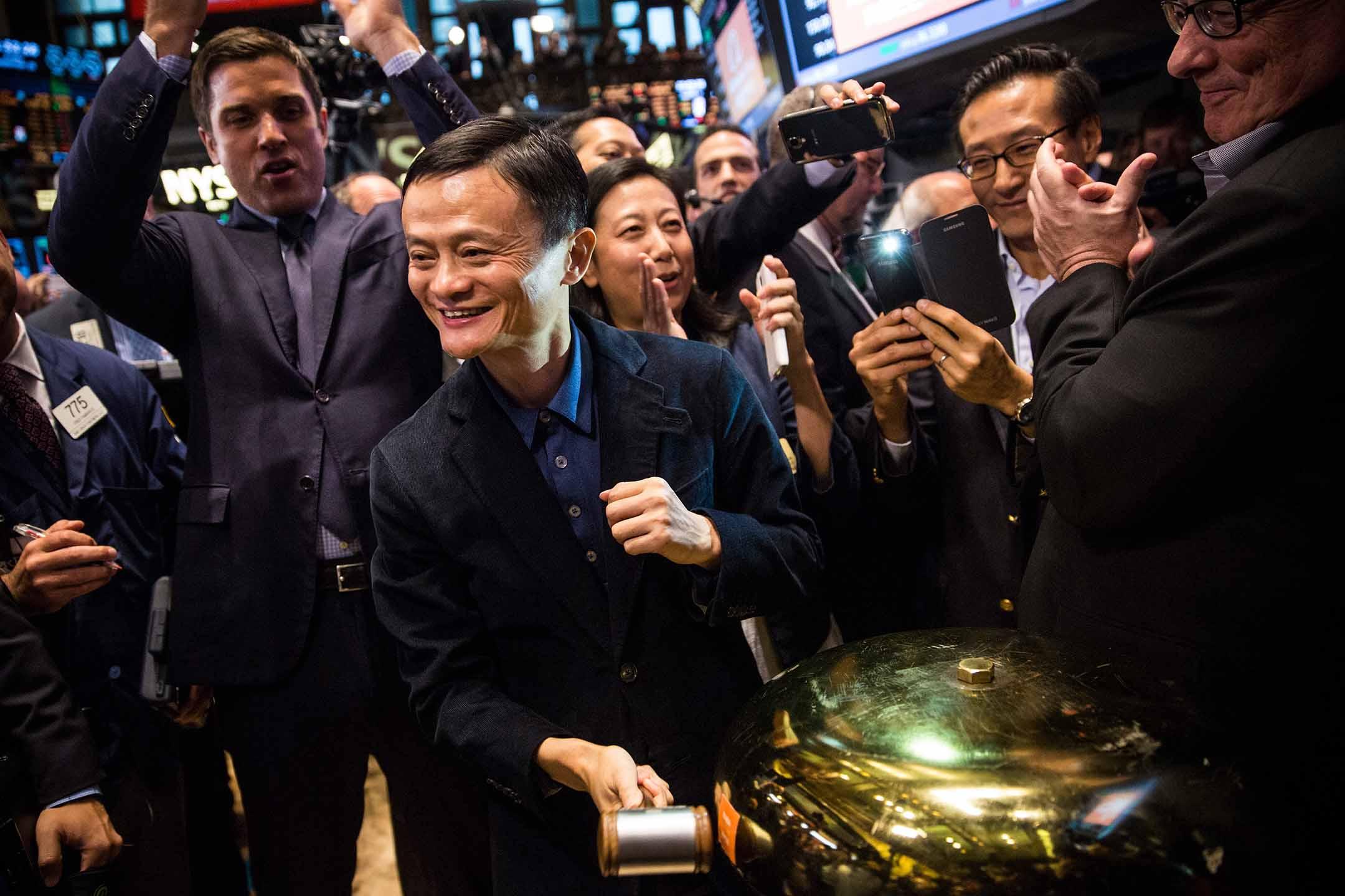 2014年9月19日紐約,阿里巴巴集團創始人馬雲在紐約證券交易所首次公開募股期間。