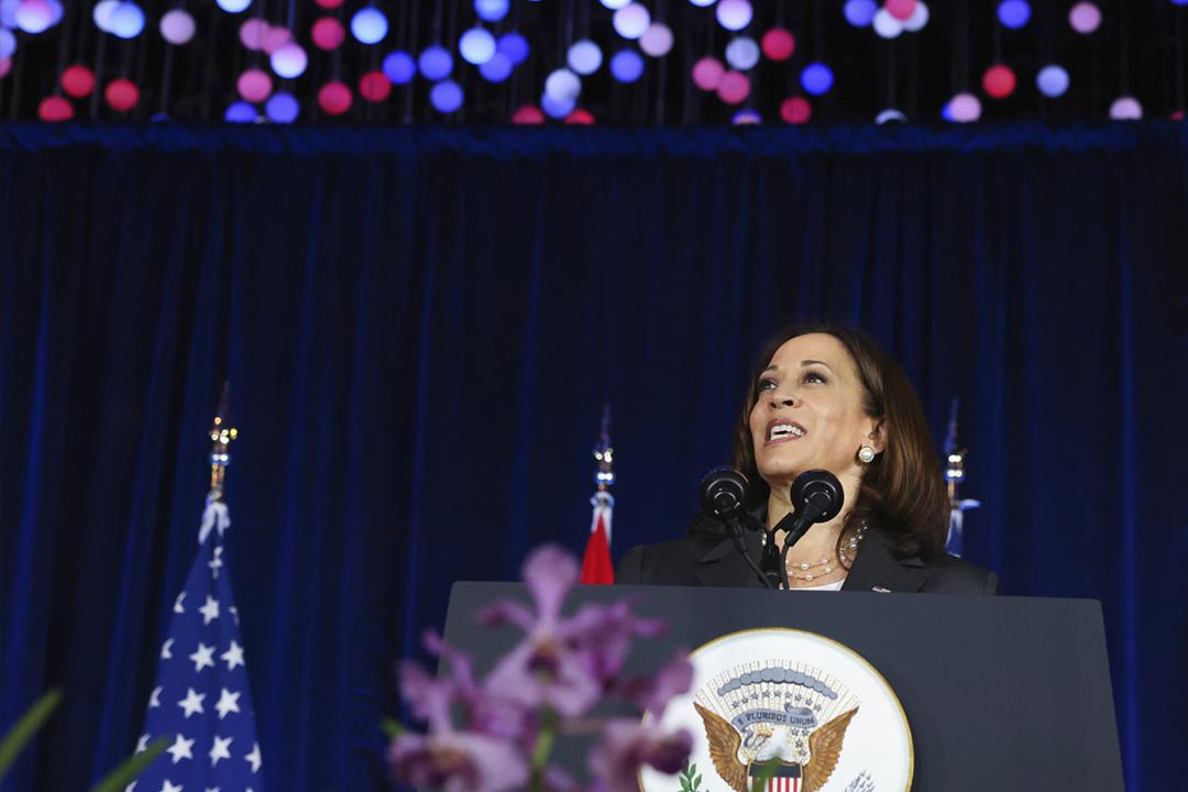 2021年8月24日,美國副總統賀錦麗(Kamala Harris)新加坡濱海灣花園發表印太政策演講。 攝:Evelyn Hockstein / Pool Photo via AP