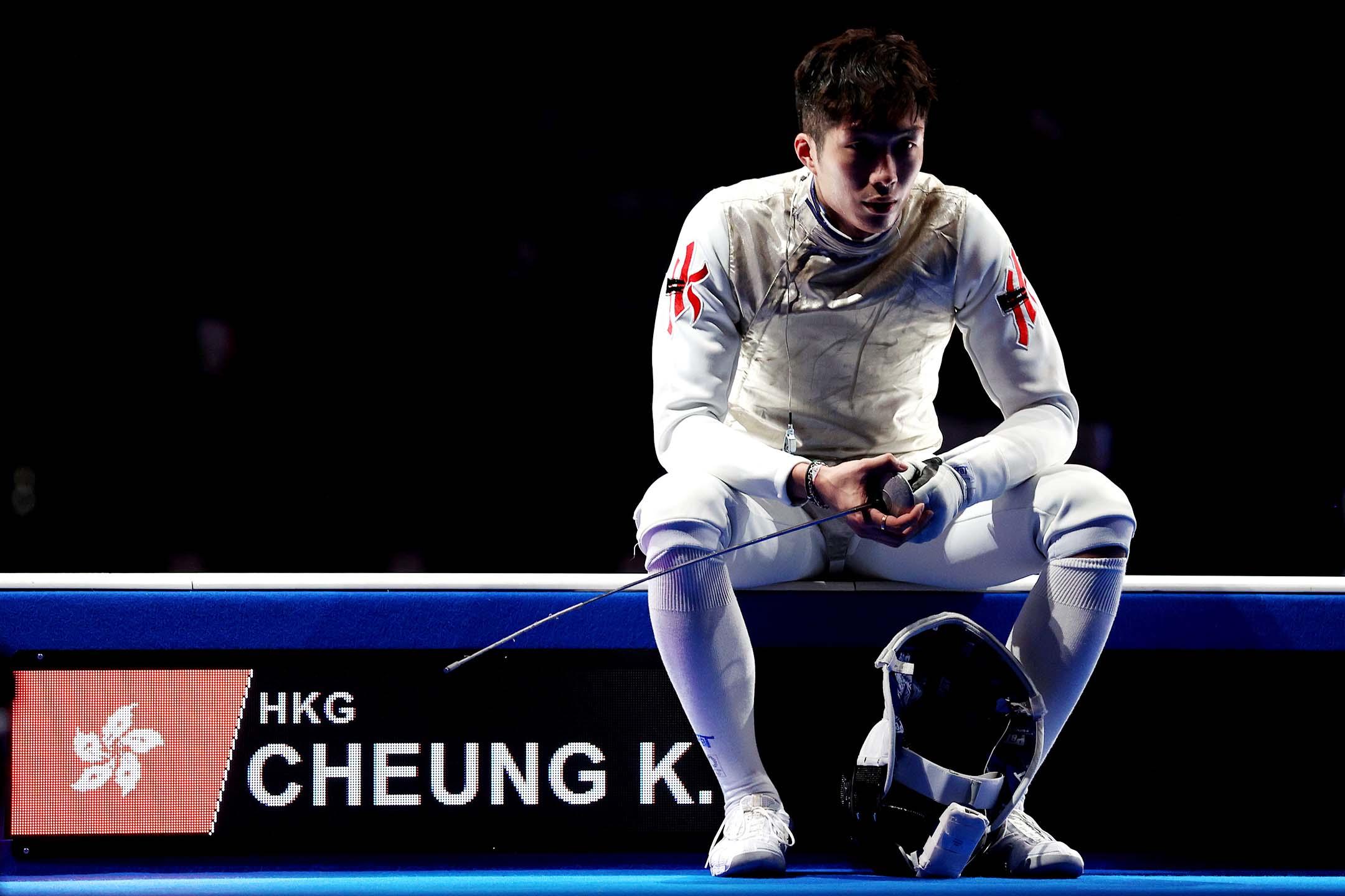 2021年7月26日東京奧運會男子個人花劍決賽中,香港隊的張家朗。