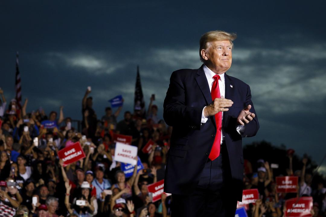 2021年7月3日,美國前總統特朗普抵達佛羅里達州舉行集會。