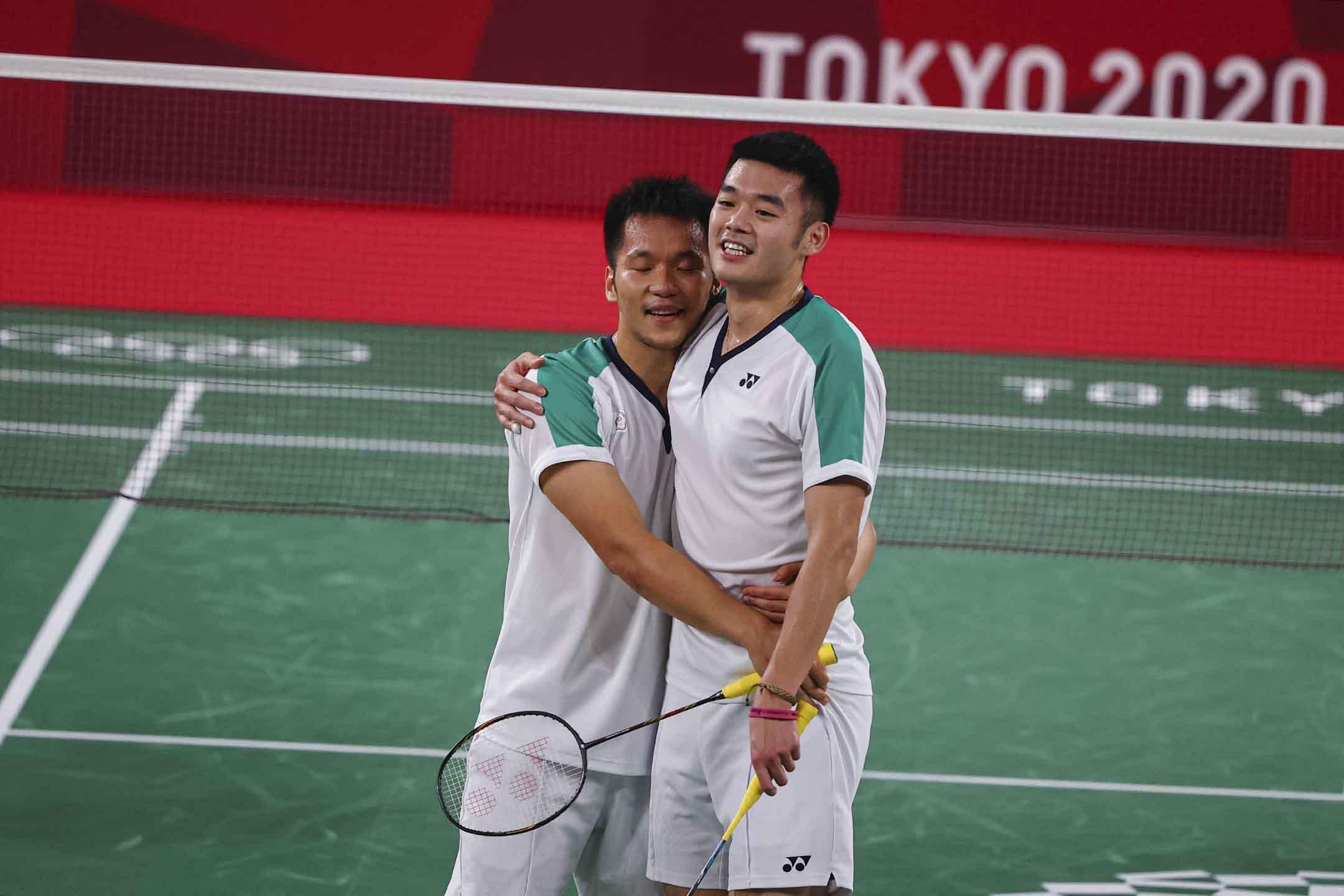 2021年7月31日東京奧運會羽毛球男雙決賽,中華台北李洋和王齊麟奪金。