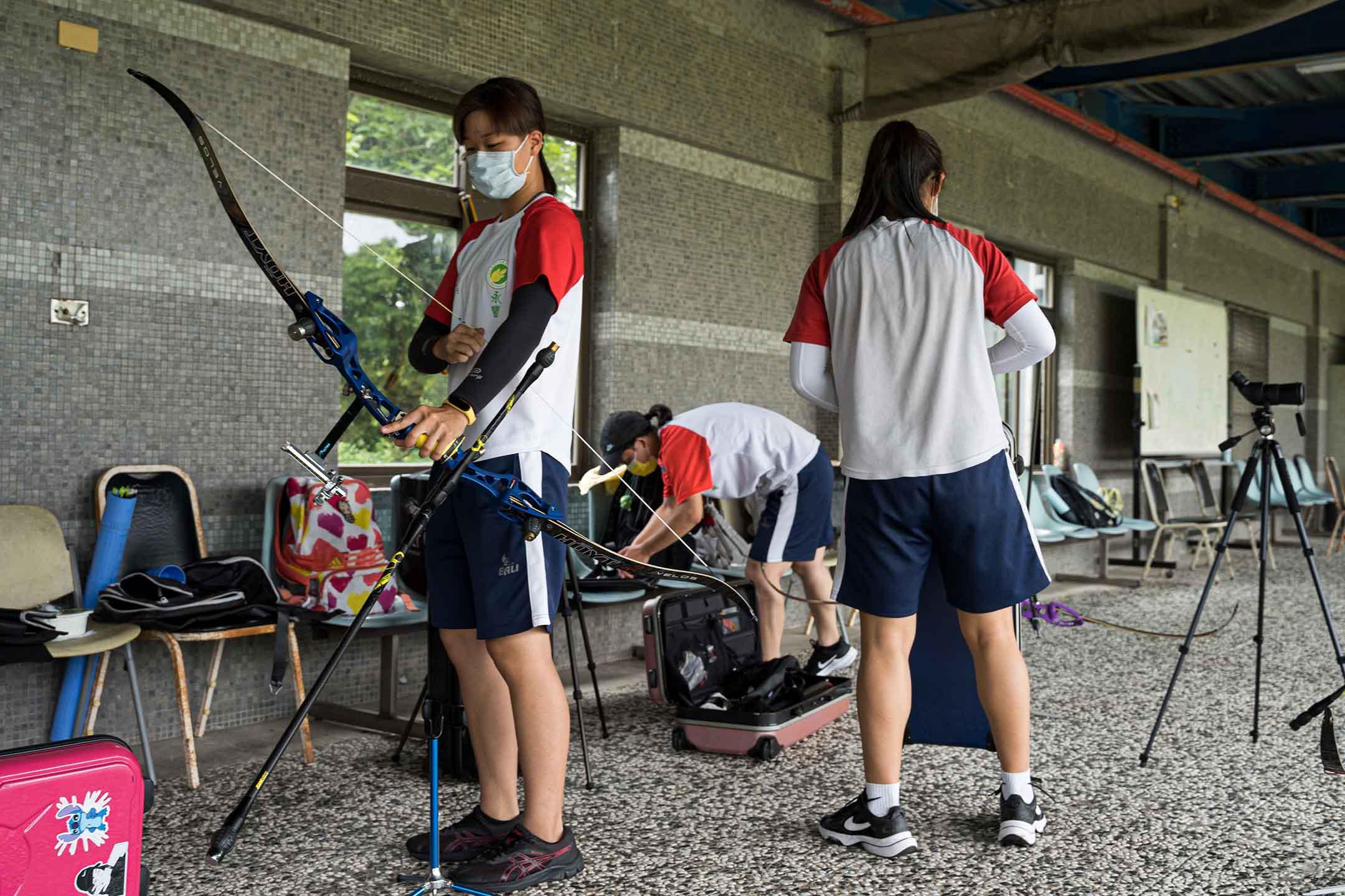 2021年8月11日台灣林口,全運會射箭選拔賽在國立體育大學中的射箭場舉行。